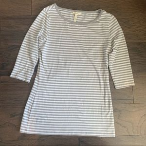 Matilda Jane Gray White Striped 3/4 T-Shirt Top
